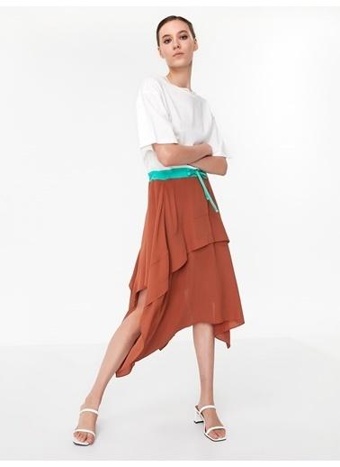 Twist Kısa Kollu Asimetrik Elbise Oranj